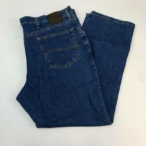 Lee-Jeans-Mens-42X30-Blue-Straight-Leg-Regular-Fit-Cotton-Blend-Medium-Washed