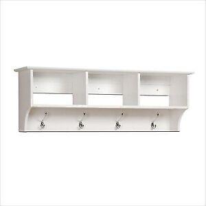 Buy White Entryway Wall Shelf Organizer Coat Rack Hooks Cubby Cubbie