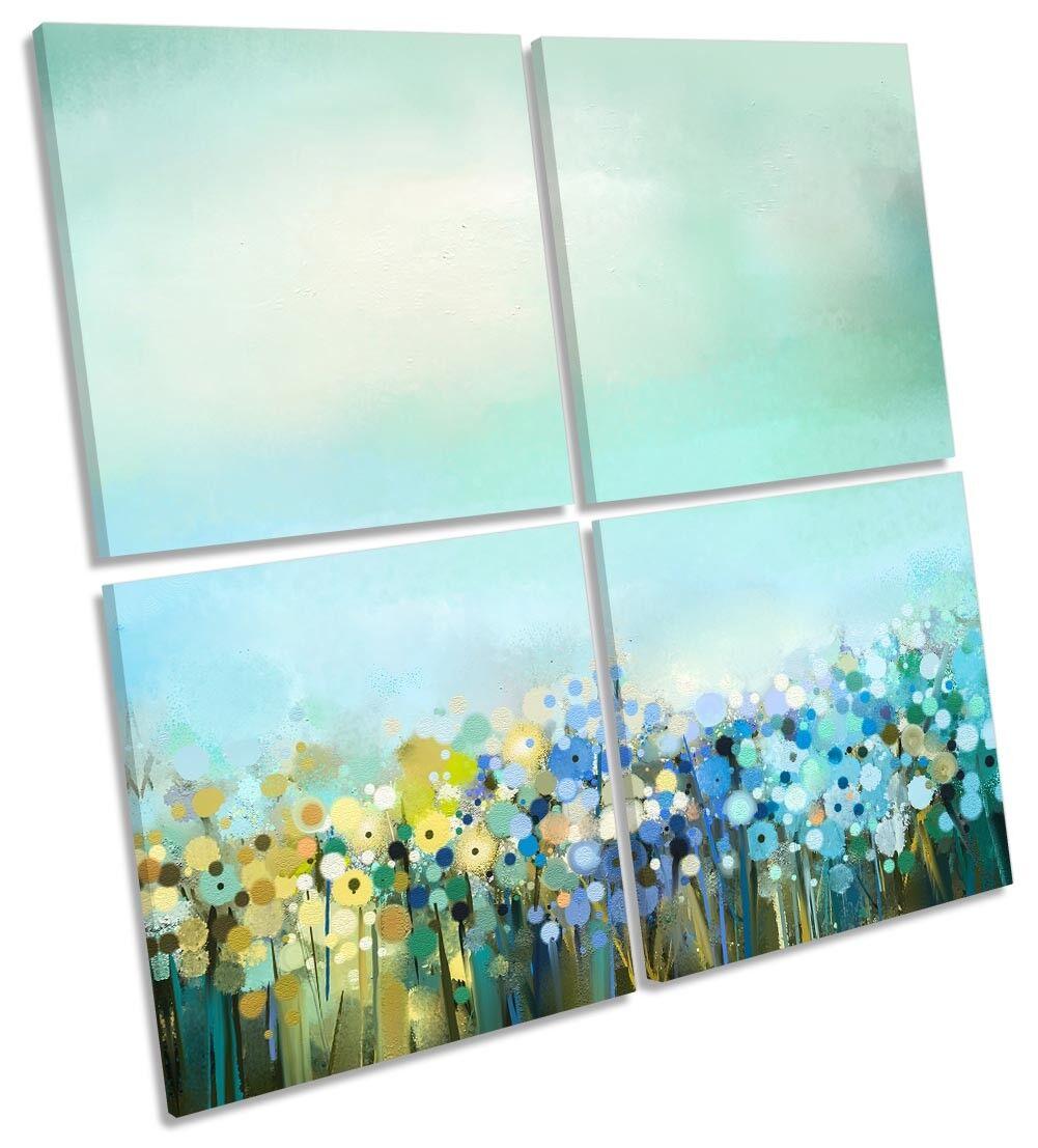 Bleu Sarcelle Floral Fleurs Art Turquoise MULTI TOILE murale ART SQUARE Art Fleurs dc1eef