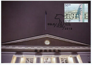 Norway-2019-MAXI-Oslo-Stock-Exchange-Bicentenary-1v-Cards-Architecture-Stamps