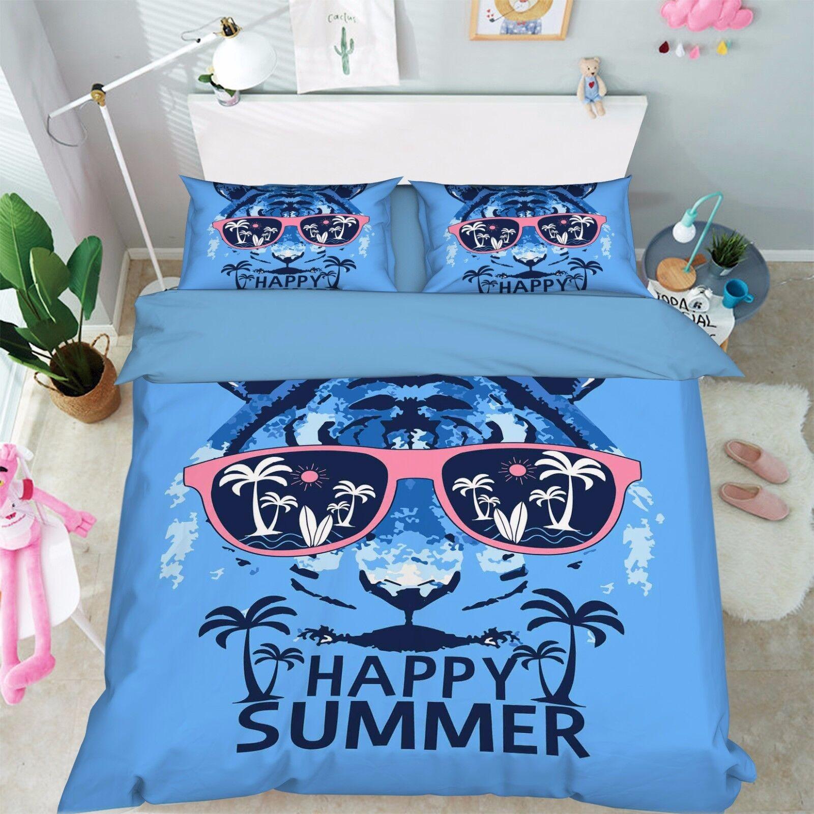 3D Tiger Bule 86 Bed Pillowcases Quilt Duvet Cover Set Single Queen UK Summer