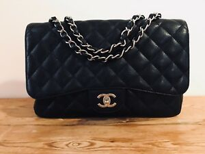 ad6235521902 Image is loading CHANEL-Classic-Quilted-Jumbo-Single-Flap-Bag-Black-