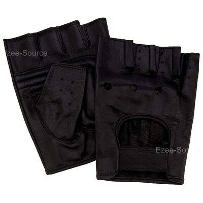 MENS LEATHER FINGERLESS DRIVING RIDING MOTORCYCLE BIKER GYM GLOVES SALE - BFHF