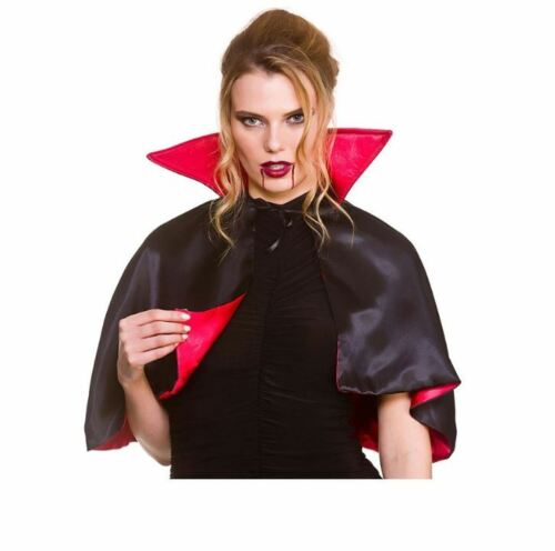 Adulte Deluxe Mini Cape rouge halloween haut col satin Vampire Diable livre semaine