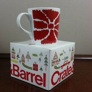 Crate and Barrel Coffee Mug 2013 Holiday Red Flower With ...