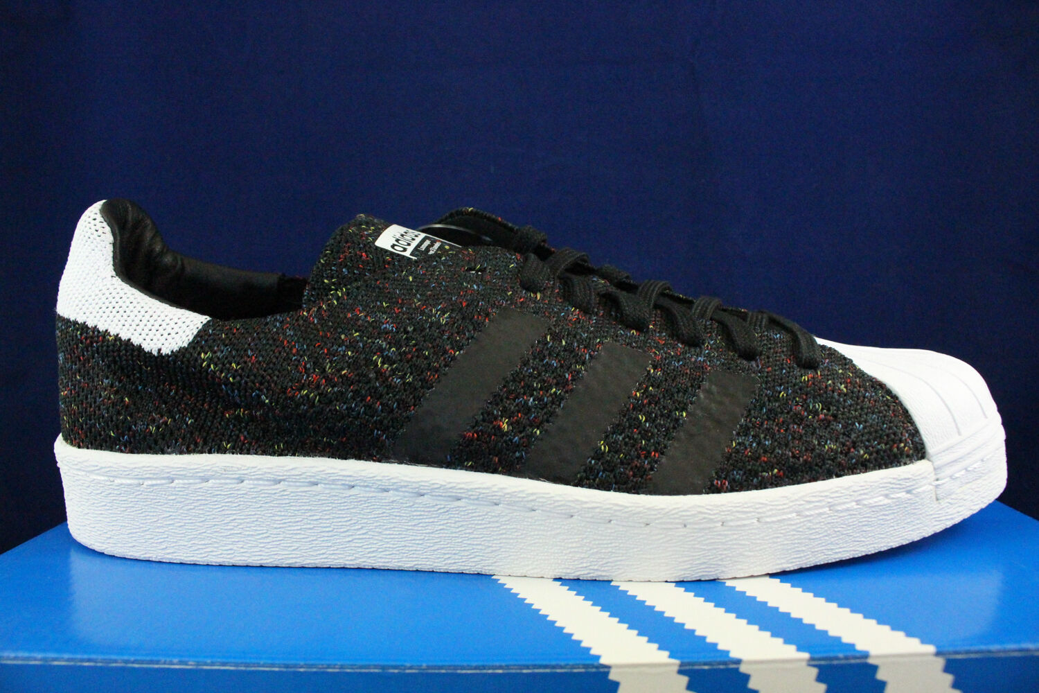 ADIDAS ORIGINALS SUPERSTAR 80'S PRIMEKNIT CORE BLACK MULTI COLOR S75844 SZ 11.5
