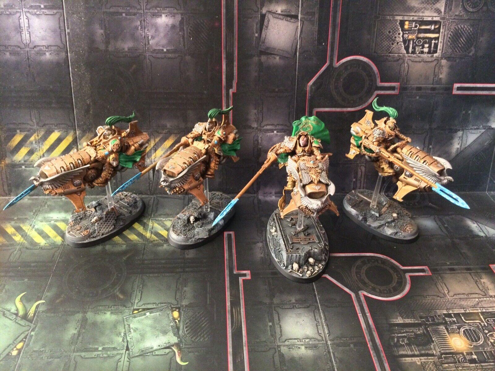 Warhammer 40k  Adeptus Custodes Jetbikes + vexilla +shield  captain COMMISSION  servizio premuroso
