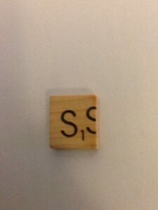 "Scrabble Misprinted ""S"", On Light Wood Tile, Very Rare."