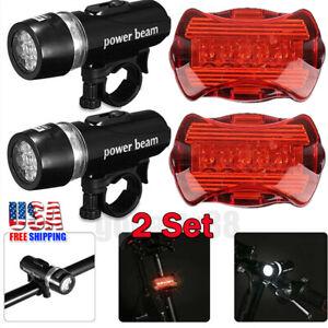 Rear Safety Flashlight Set Waterproof 5 LED Lamp Bike Bicycle Front Head Light