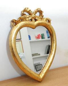 Specchio a forma di cuore lavorato in legno color oro antico artigianale ebay - Specchio a cuore ...