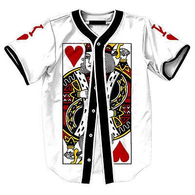 cheap for discount ec8a5 0e457 King of Hearts Poker Card Mens Baseball Jersey Raglan T Shirt Team Button  Tee | eBay