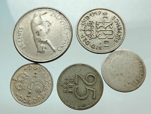 GROUP-LOT-of-5-Old-SILVER-Europe-or-Other-WORLD-Coins-for-your-COLLECTION-i75683