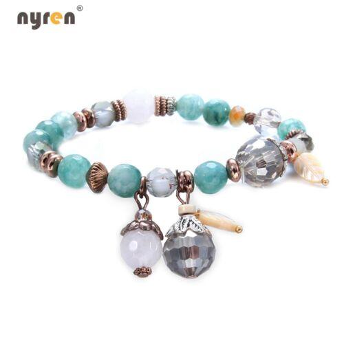 New Crystal Beads Charms Bracelet Fashion Elastic Beaded Bracelet Women Girl