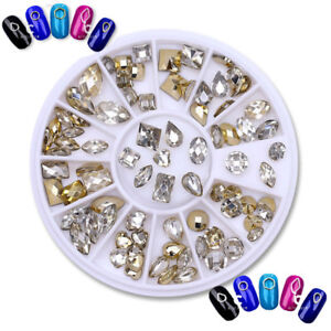 Double-sided-Nail-Art-Rhinestone-Marquise-Heart-Studs-3D-Decoration-in-Wheel-DIY
