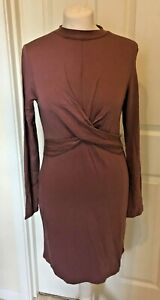 NEW-Topshop-Dusky-Pink-Long-Sleeve-Twist-Front-Dress-Size-4-6-or-8