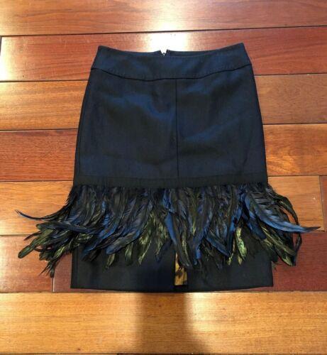 Dolce & Gabbana Black Wool Feather Trim Skirt Size