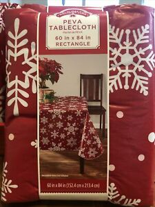 """Holiday Time Tablecloth Black /& Red Buffalo Plaid 60"""" X 84"""" Rectangle NWT"""
