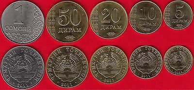 Tajikistan set 5 coins 5 10 20 25 50 Diram 2006 UNC