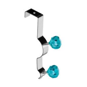 Premier-Over-Door-Chrome-Hanger-2-Hook-Teal-Diamantes-Clothes-Storage-Organizer