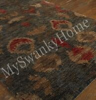 9 X 12 Hand Knotted Ethnic Jute Area Rug Red Gray Neiman Marcus Colorful Tribal