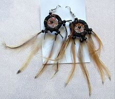 Federohrring black 810 Dreamcatcher Traumfänger Ohrhänger Feder Ohrring Earring