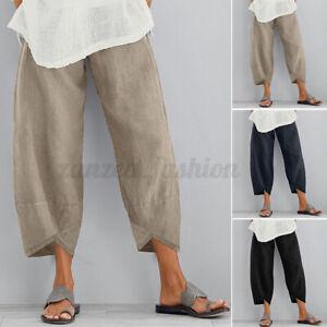 Mode-Femme-Pantalon-Asymetrique-Couleur-Unie-Taille-elastique-Jambe-Large-Plus