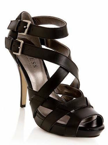 GUESS BY MARCIANO EULLIA GLADIATOR STRAP SANDAL PLATFORM HEEL 8 148 BLACK   SFS