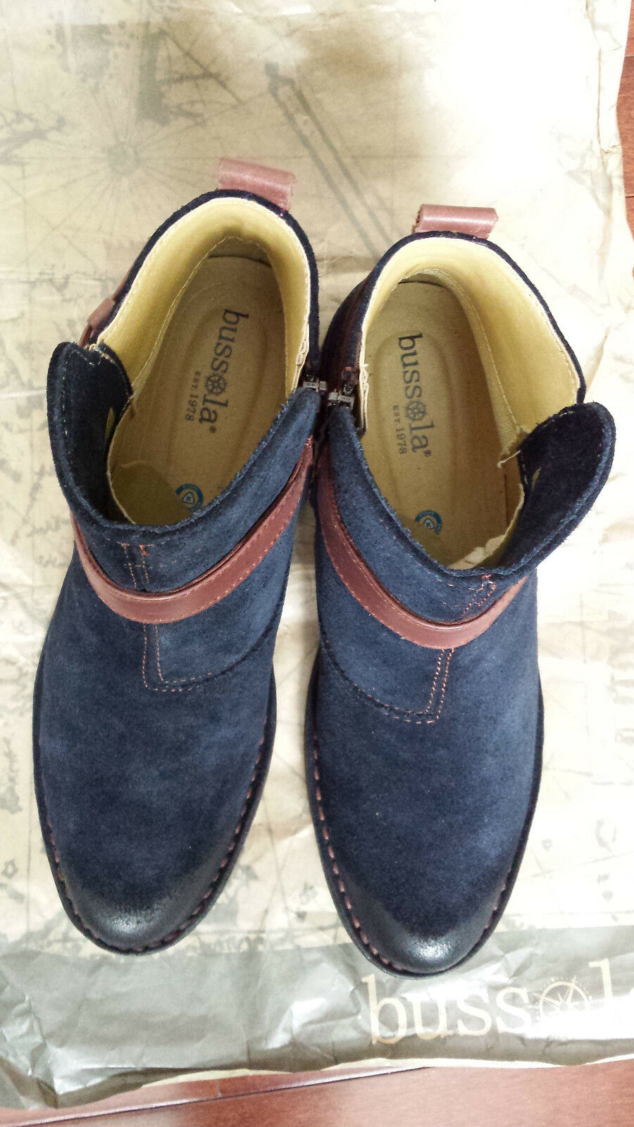 NIB Bussola Lyon stivali Sundance Navy Suede  Marronee Leather EU 37  US 7-7.5 M