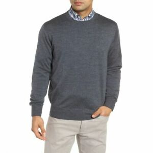 Peter-Millar-Mens-Gray-Crown-Wool-Silk-Blend-Crewneck-Sweater-XL