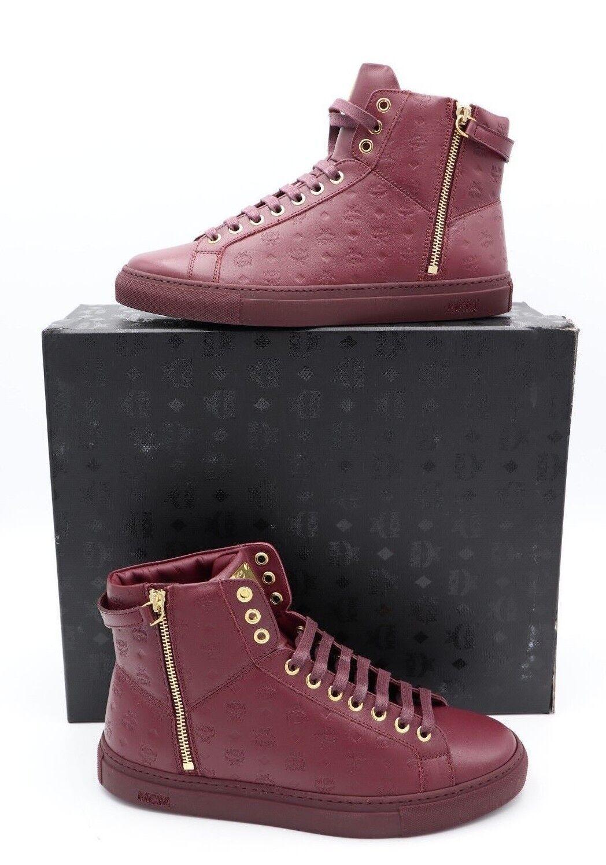 NIB MCM Rustic Brown Visetos Leather Turnlock High Top Scarpe da Ginnastica 8 41 New