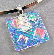 Dichroic Fused Glass Moonstone Green Orange Pink Slide PENDANT Square Layers