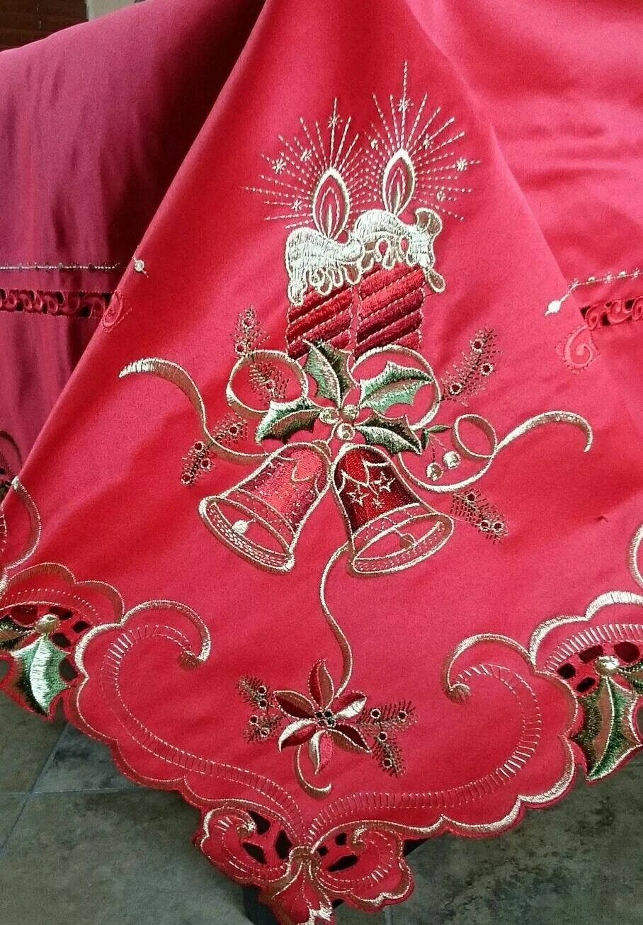 72x108  rouge Gorgeous Christmas Holiday Candle Embroidery Tablecloth Elegantlinen
