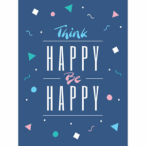 Think-Be-Happy-90s-Large-Wall-Art-Print-18X24-In