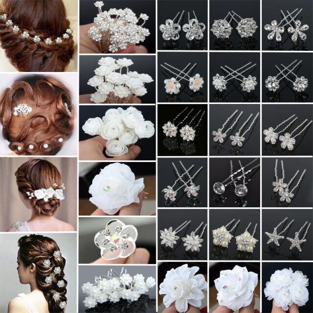 20PCS Clear Crystal Rhinestone Diamante Wedding Bridal Prom Hair Pins H LMV
