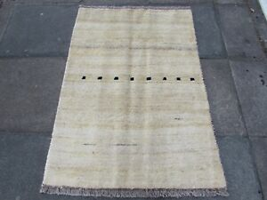 VECCHIO-Fatto-a-Mano-Tradizionale-Persiano-Orientale-Lana-Tappeto-Gabbeh-crema-140x100cm