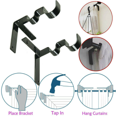 New 1 Pair Hang Curtain Rod Holders Tap Right Window Frame Curtain Rod Bracket