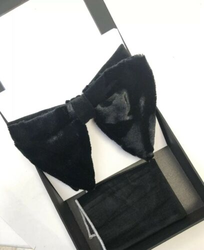 Men MANZINI TUXEDO BOWTIE NECKTIE With Pocket SQUARE BLACK VELVET STITCH BOW TIE