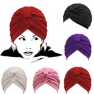 b0e05a639b1 Women Men Stretchy Turban Head Wrap Band Chemo Bandana Hijab Pleated ...