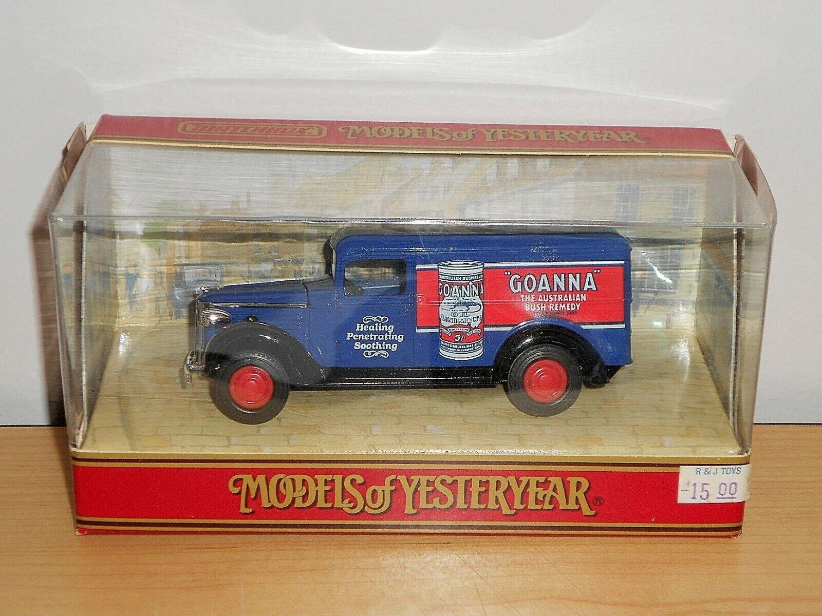 Matchbox Models of Yesteryear 1990 Y12e Blue Goanna 1937 GMC Van MINT Boxed*