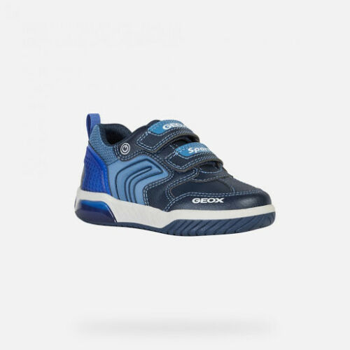 SALE Geox Junior Inek Boys Navy//Royal Breathable Light-Up Trainers SAVE £20!