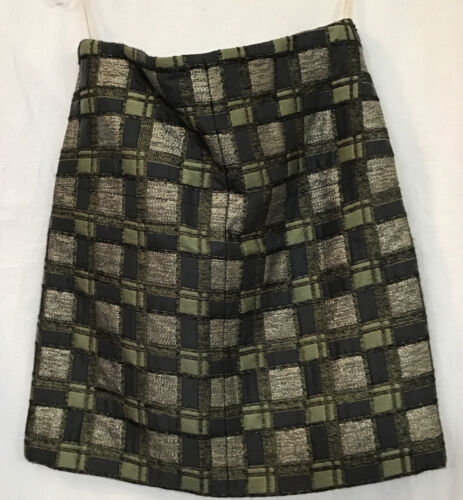 Marni Skirt Short Olive And Gold Square Pattern Me