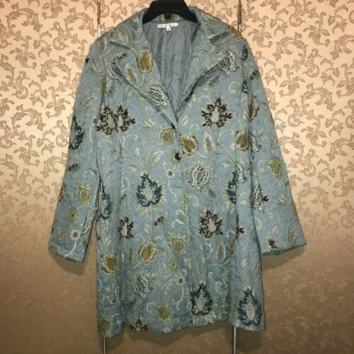 CAbi Blue Green Multi-Color Floral Tapestry Coat … - image 1