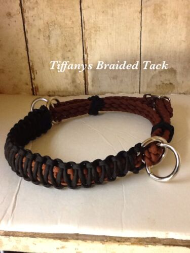 side pull hackamore attachment with a whoa black and brown...mini to draft