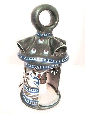ANTIQUE NOUVEAU GOUDA MASSA PIERCED LAMP PLAZUID HOLLAND PEACOCK FEATHERS SIGNED