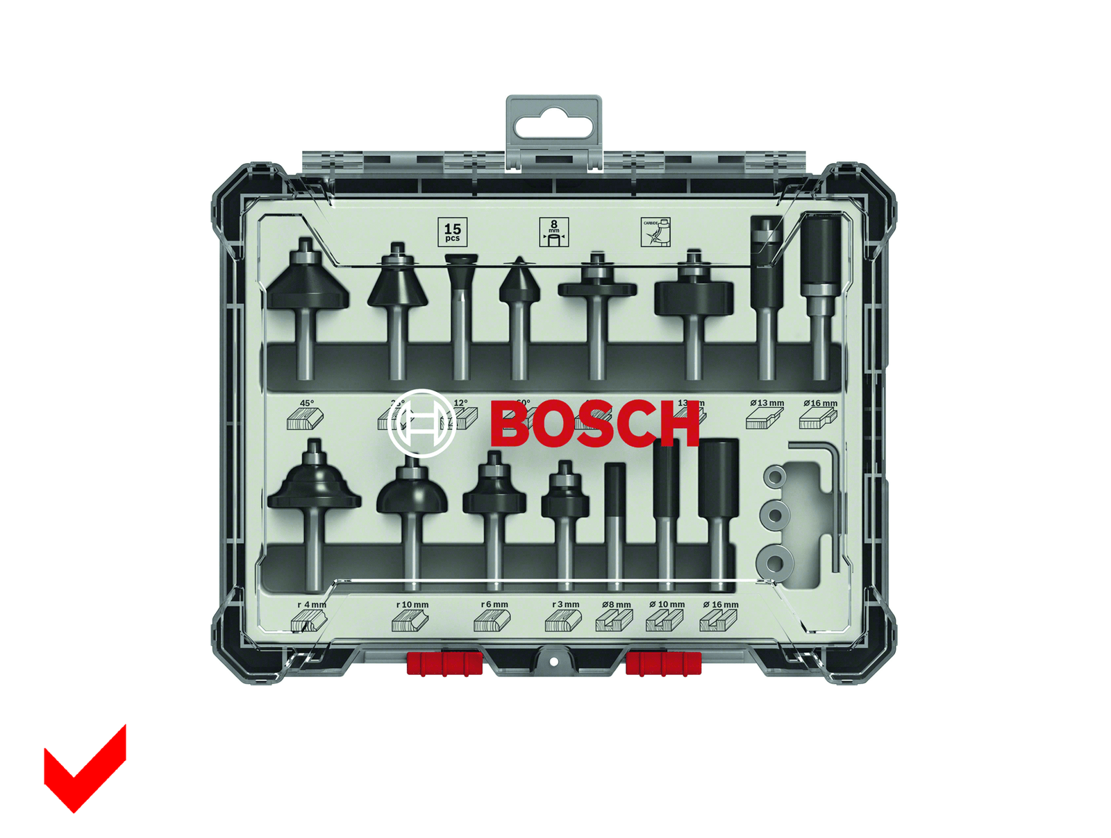 Bosch Fräser-Set 15-teilig Schaft 8mm 2607017472 für Oberfräse