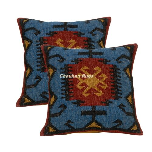 2 Set of Vintage Kilim Pillow  Hand Woven Jute Rug Rustic Pillow cover 1101-BB