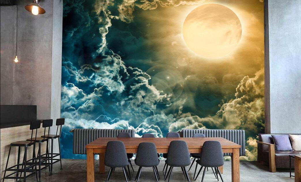 3D Clouds moon 1 WallPaper Murals Wall Print Decal Wall Deco AJ WALLPAPER