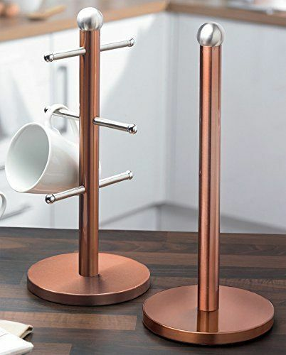 STAINLESS STEEL MUG CUP TREE STAND TOWEL PAPER ROLL HOLDER KITCHEN SET METALLIC