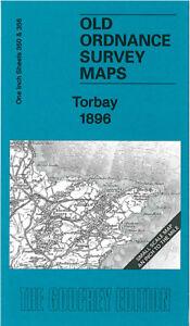 OLD ORDNANCE SURVEY MAP TORBAY 1896 TORQUAY BRIXHAM PAIGNTON SLAPTON TOTNES