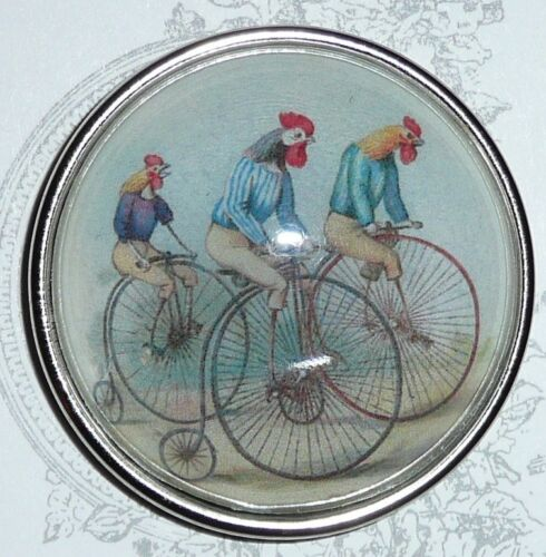 """Adorable Bicycling Chickens Domed Button 1-1//2/"""" Antique Silver Toned Bezel"""